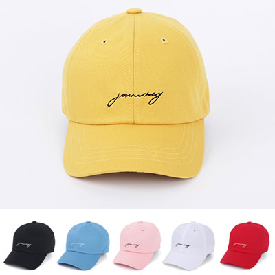 [UNISEX] CURSIVE LOGO EMBROIDERED BALL CAP(6color)