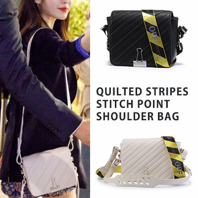 [UNISEX] IU st. QUILTED STRIPES STITCH POINT SHOULDER BAG(2color)
