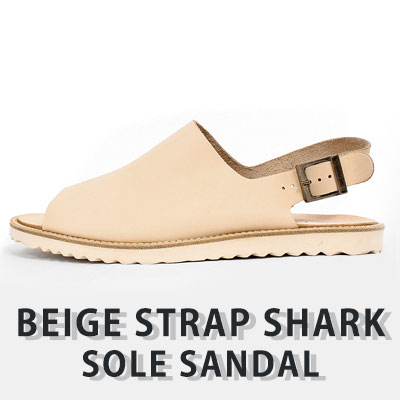 [25.0-28.0][Cowhide leather/rubber sole] BEIGE STRAP SHARK SOLE SANDAL