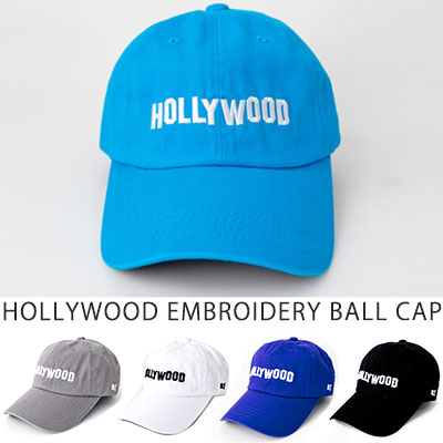 [UNISEX] HOLLYWOOD EMBROIDERY BALL CAP(5color)]