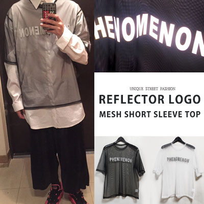 [UNISEX] REFLECTOR LOGO MESH SHORT SLEEVE TOP(2color)