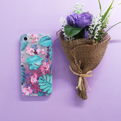 LEAF GLITTER PHONE CASE
