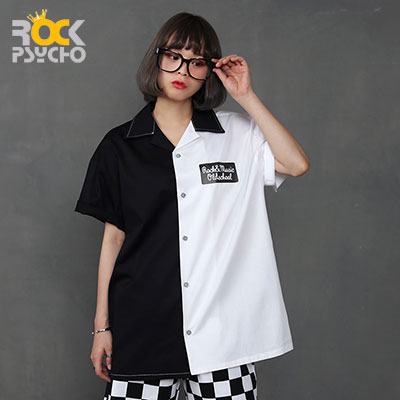 【ROCK PSYCHO】OLD SCHOOL Short Sleeve Shirt -BLACK