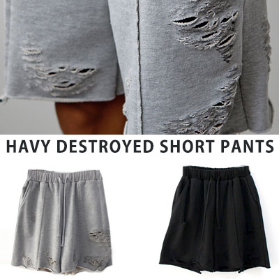 [UNISEX] HEAVY DESTROYED SHORT PANTS(2color)
