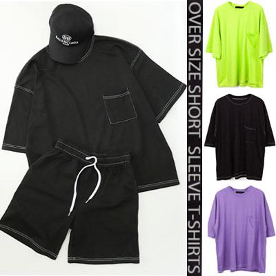[UNISEX] ONE POCKET/STITCH POINT OVERSIZE SHORT SLEEVE /Tshirts,pants,set(3color)