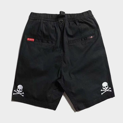 [UNISEX] SKULL EMBROIDERY POINT BELT SHORT PANTS