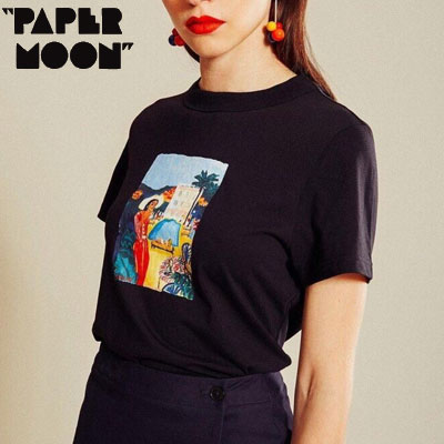 【PAPER MOON】MADAM PRINT TSRHITS -black
