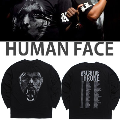 ★Prompt delivery★30%OFF SALE★HUMAN FACE LONG SLEEVE T-SHIRTS/JAY-Z st. KANYE st.