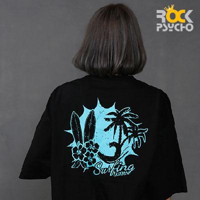 【ROCK PSYCHO】Skull Surfing Print Short Sleeve T-Shirt (2colors)