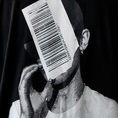 [UNISEX] FACE BARCODE POINT SHORT Sleeve Tshirts(3color)