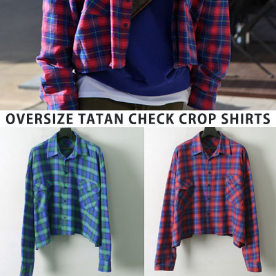 [UNISEX] OVERSIZE TATAN CHECK LONG SLEEVE CROP SHIRTS(2color)