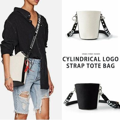 CYLINDRICAL LOGO STRAP TOTE BAG(2color)