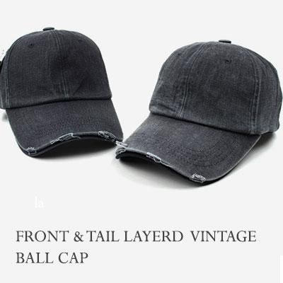 [UNISEX] FRONT TAIL LAYERD VINTAGE BALL CAP(2color)