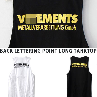 [UNISEX] BACK LETTERING POINT LONG TANKTOP(2color)