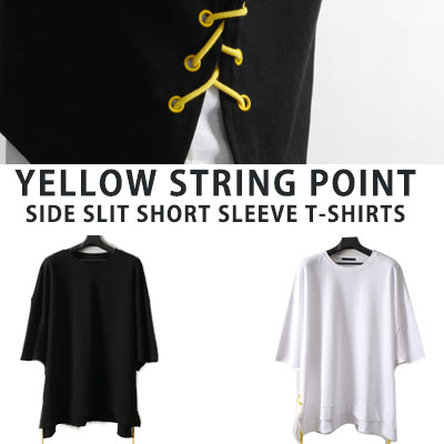 [UNISEX] YELLOW STRING POINT SIDE SLIT SHORT SLEEVE TSHIRTS(2color)