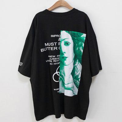[UNISEX] HALF VENUS PRINT SHORT SLEEVE TSHIRTS(3color)
