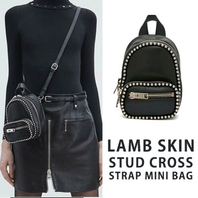 LAMB SKIN STUD CROSS STRAP MINI BAG