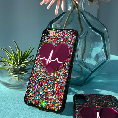 HEART SIGNAL GLITER PHONE CASE