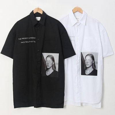 [UNISEX] クローズアイズガールショートスリーブシャツ/半袖(2color)