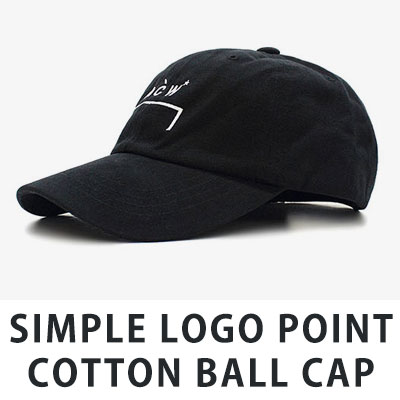 [UNISEX] SIMPLE LOGO POINT COTTON BALL CAP