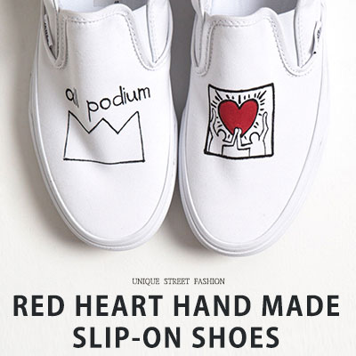 [22.5 ~ 28.0cm] RED HEART HAND MADE SLIP ON SHOES