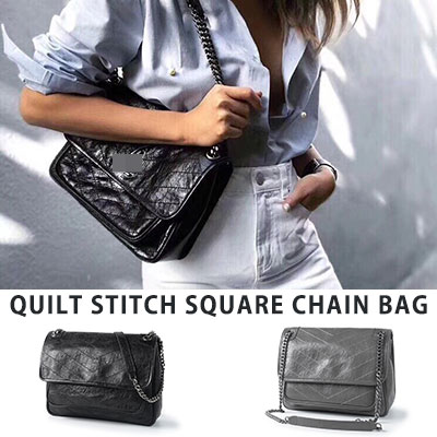 [COWHIDE] QUILT STITCH SQUARE CHAIN BAG(2color)