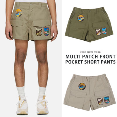 MULTI PATCH FRONT POCKET SHORT PANTS(2color 2size)