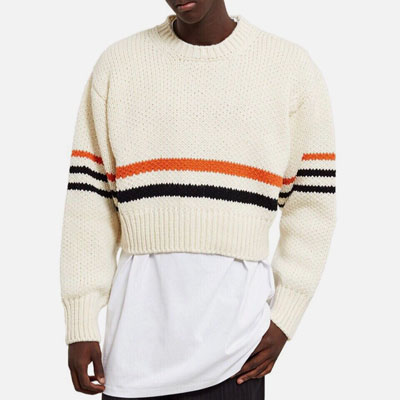 [UNISEX][WOOL+ACRYLIC] LINE POINT STRIPE CROP KNIT(2color)