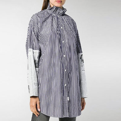 OPEN COLLAR TUNIC SEMI OVERFIT SHIRTS