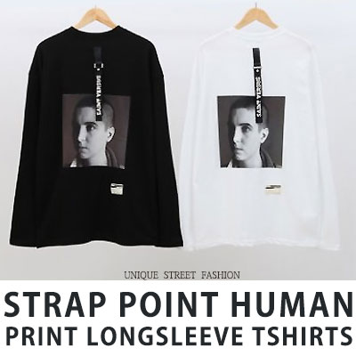 [UNISEX] STRAP POINT HUMAN PRINT LONGSLEEVE TSHIRTS(2color)