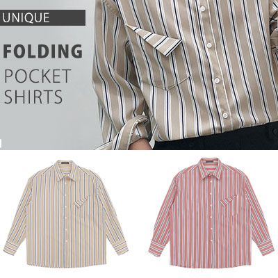 [UNISEX] POCKET FOLDING STRIPE SHIRTS(2color)