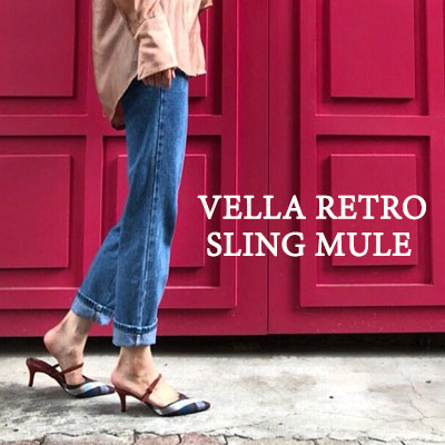 【RANG SHE】[23.0 ~ 25.0cm]VELLA RETRO SLING MULE- SLINGBACK & MULE 2WAY (6color)