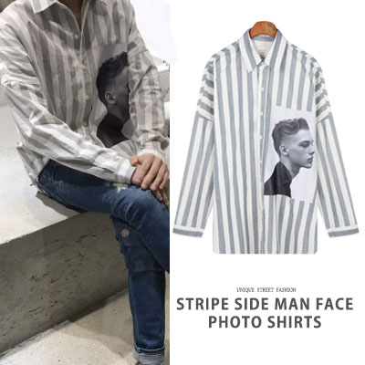 [UNISEX] STRIPE SIDE MAN FACE PHOTO SHIRTS(2color)