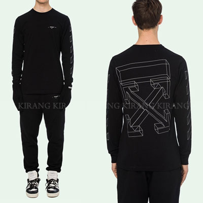 [UNISEX] 3D WHITE LINE ARROW LONG SLEEVE TSHIRTS(2color)
