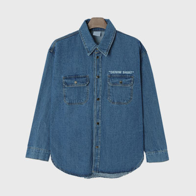 [UNISEX] FRONT LOGO OVER FIT DENIM SHIRTS