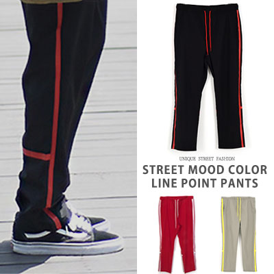 [UNISEX] STREET MOOD COLOR LINE POINT PANTS(3color)