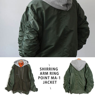 [UNISEX] SHIRRING ARM RING POINT MA-1 JACKET -khaki