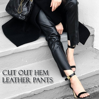 【PAPER MOON】CUT OUT HEM LEATHER PANTS(2size)