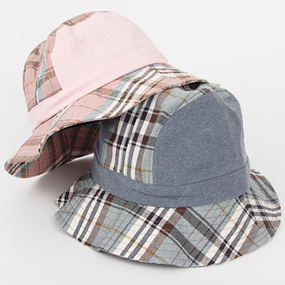 [UNISEX] SOFT CHECK TWO TONE BUCKET HAT(4color)