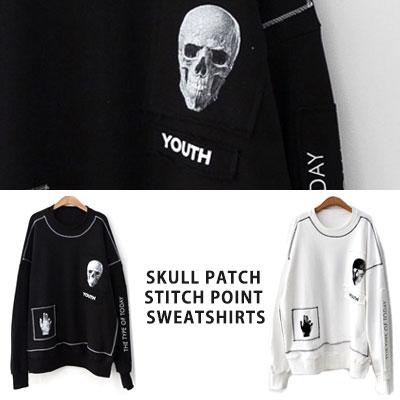 [UNISEX] SKULL PATCH STITCH POINT SWEATSHIRTS(2color)