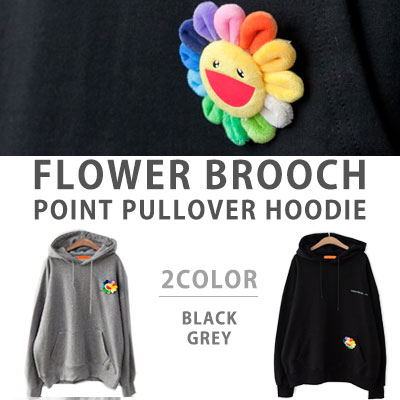 [UNISEX] FLOWER BROOCH POINT PULLOVER HOODIE(2color)