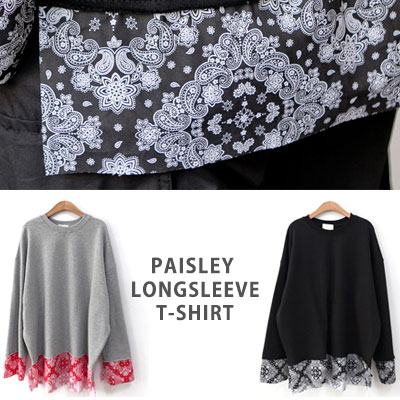 [UNISEX] PAISELEY PATCH LONG SLEEVE TSHIRTS(2color)
