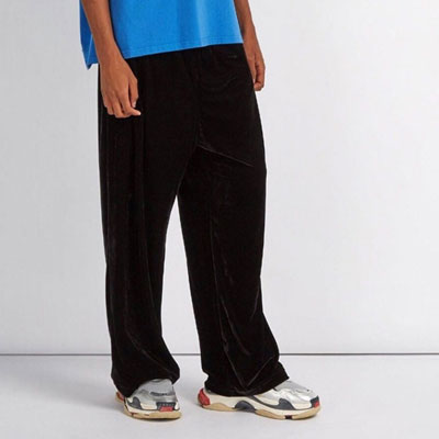 [UNISEX] WIDE BLACK VELOUR TRACK PANTS