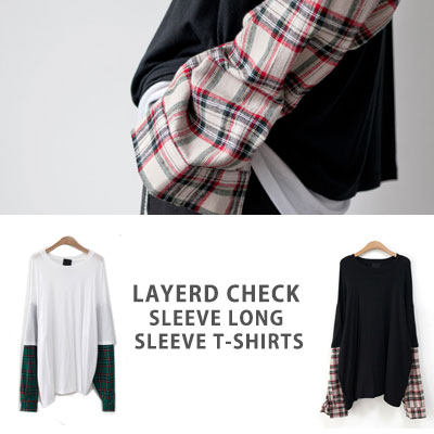 [UNISEX] LAYERD CHECK SLEEVE LONG SLEEVE TSHIRTS(2color)