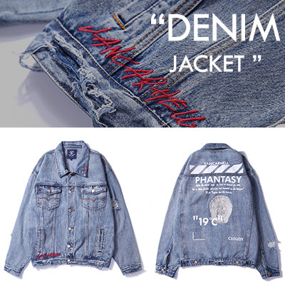 [UNISEX] RED THREAD POINT DENIM JACKET