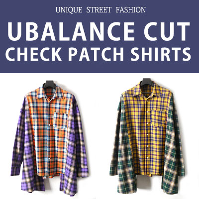 [UNISEX] UNBALANCE CUT CHECK PATCH SHIRTS(2color)