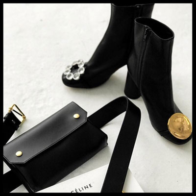 [23.0 ~ 25.0cm] BOLD CHARM CRYSTAL SPAN ANKLE BOOTS