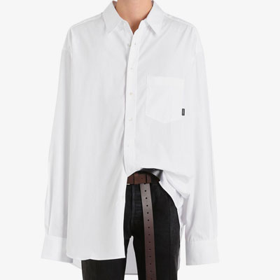 [UNISEX] OVERSIZE LOGO TAG POINT SOLID SHIRTS(2color)