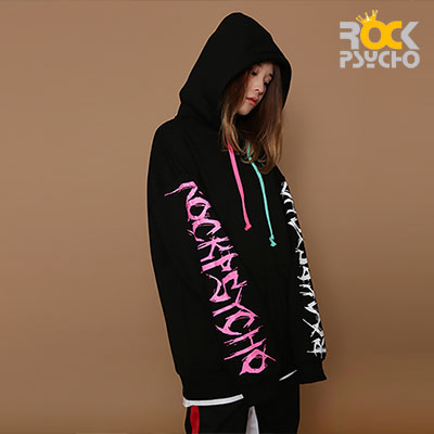 【ROCK PSYCHO】[UNISEX]  PRINTED SLEEVE ZIP UP HOODIE