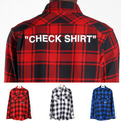 "[UNISEX] ""CHECK SHIRTS""LOGO POINT FLANNEL CHECK SHIRTS(3color)"